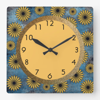 Blue Denim with Yellow Flowers and Gold Square Wall Clock