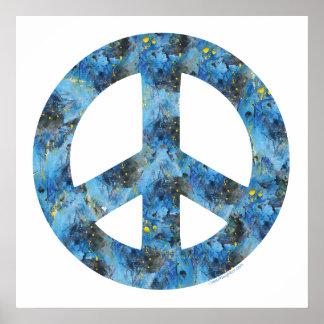 Blue Design of Peace Sign, Peace Symbol Print