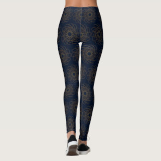 Blue design with brown curves leggings