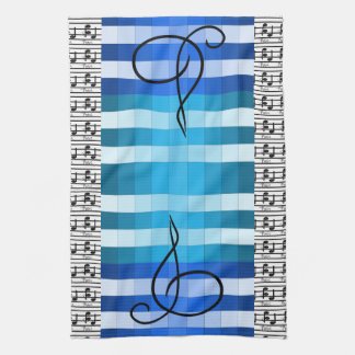 Blue Designer Musical Music Musicians Kitchen Gift Hand Towels
