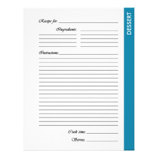 Blue DESSERT 2-sided Recipe Pages Personalized Flyer