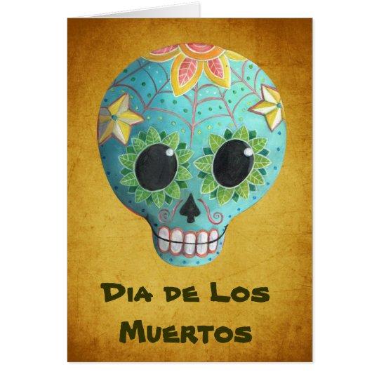 Blue Dia de Los Muertos Art Sugar Skull Card