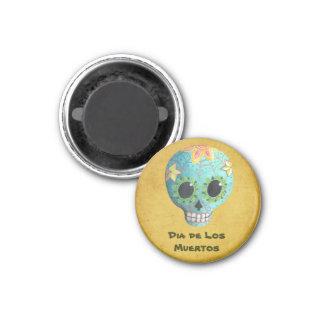 Blue Dia de Los Muertos Art Sugar Skull 1 Inch Round Magnet