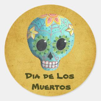 Blue Dia de Los Muertos Art Sugar Skull Round Sticker