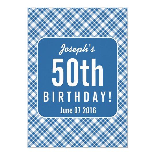 BLUE DIAGONAL PLAID 50th Birthday Party A07L Card