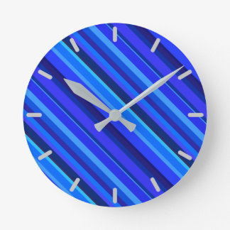 Blue diagonal stripes round clock