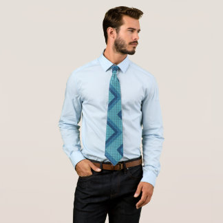 Blue Diagonal Weave Diamond Pattern Neck Ties