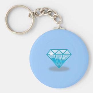 Blue Diamond Basic Round Button Keychain