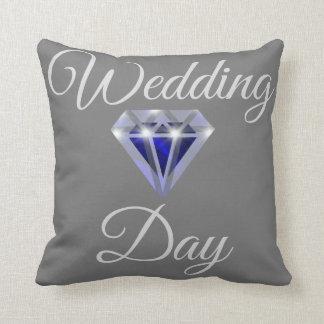 Blue diamond bridal wedding pillow
