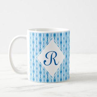 Blue Diamond Monogram Coffee Mug