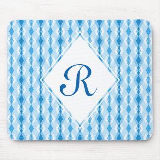 Blue Diamond Monogram Mouse Pad