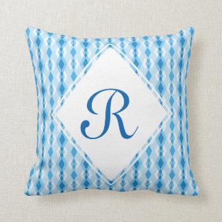 Blue Diamond Monogram Throw Pillow