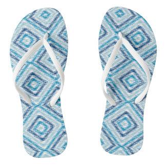 Blue Diamond Pattern Flip Flops
