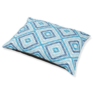 Blue Diamond Pattern Pet Bed