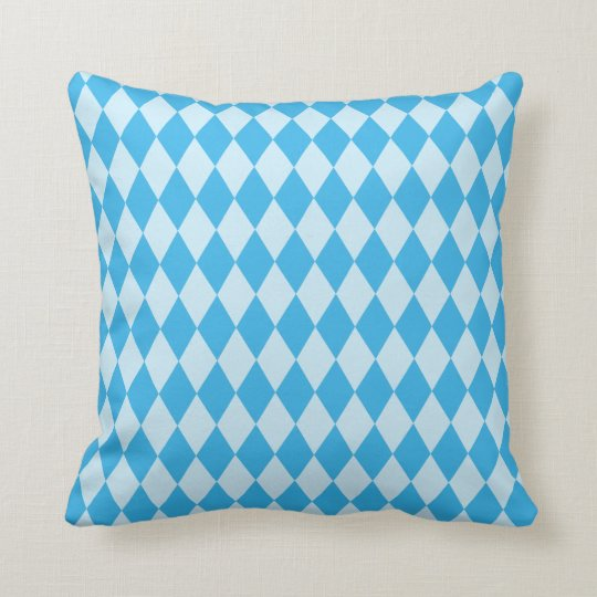 Blue Diamond Pattern Throw Pillow