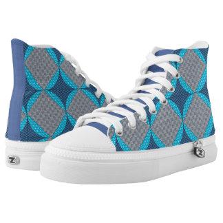 Blue Diamond Print High Top Shoes