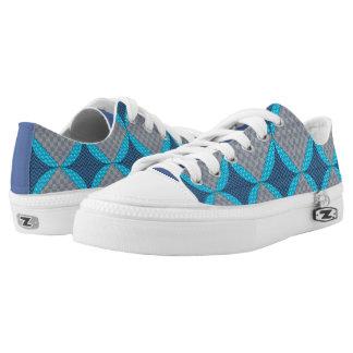 Blue Diamond Print Shoes