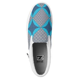 Blue Diamond Print Slip on Shoes