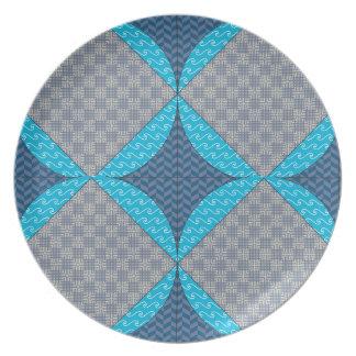 Blue Diamond Quilt Pattern Plate