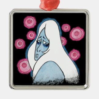 Blue Diamond Silver-Colored Square Ornament
