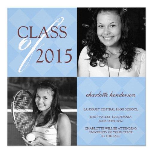 Blue diamond square photo graduation announcement