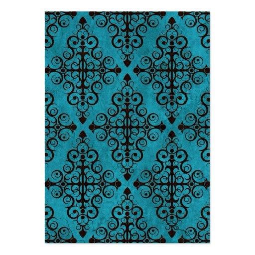 Blue Diamond Swirls Pattern Business Card Templates