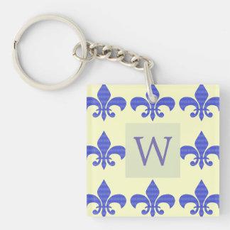 Blue Diamond Vintage Fleur-de-lis Double-Sided Square Acrylic Keychain