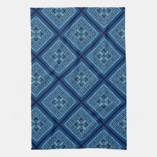 Blue Diamond with Mosaic Pattern Kitchen Towel