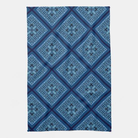 Blue Diamond with Mosaic Pattern Kitchen Towel