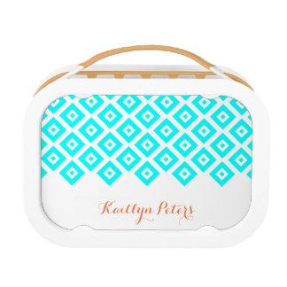 Blue Diamonds Pattern Lunch Boxes