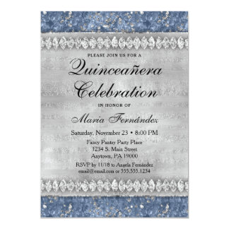 Blue Diamonds Quinceañera Invitation Silver Glam