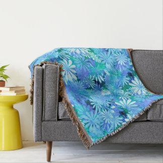 Blue Digital Daisies Throw Blanket