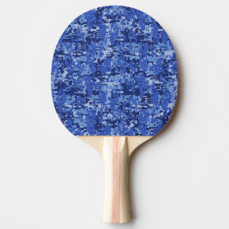 Blue Digital Pixels Camouflage Texture Ping Pong Paddle