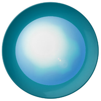 Blue Dinner Dining Plates 3D Design Fun Trendy Art