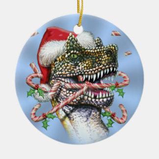Blue Dino Christmas Round Ceramic Ornament