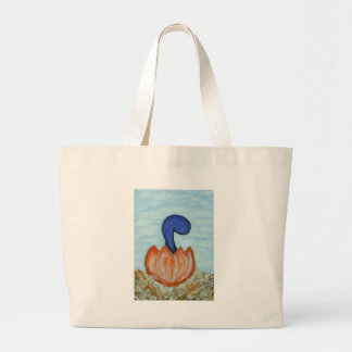 blue dino long neck large tote bag