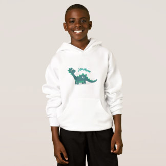 Blue dinosaur calling kid's name hoodie