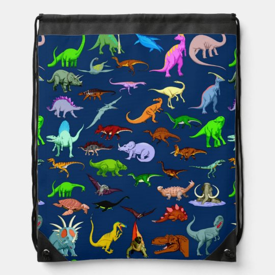 Blue Dinosaur Drawstring Bag
