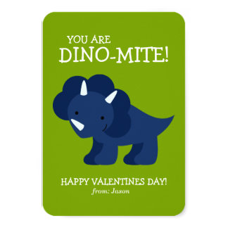 Blue Dinosaur Kids School Valentines 3.5x5 Paper Invitation Card