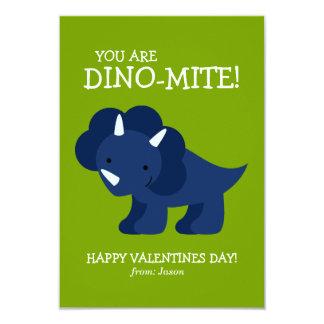Blue Dinosaur Kids Valentines Custom Invites