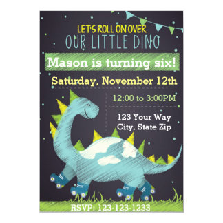 Blue Dinosaur Skate Birthday Invitation