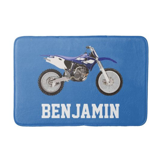 Blue Dirt Bike Name Bath Mat