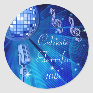 Blue Disco Ball and Retro Microphone 10th Birthday Classic Round Sticker