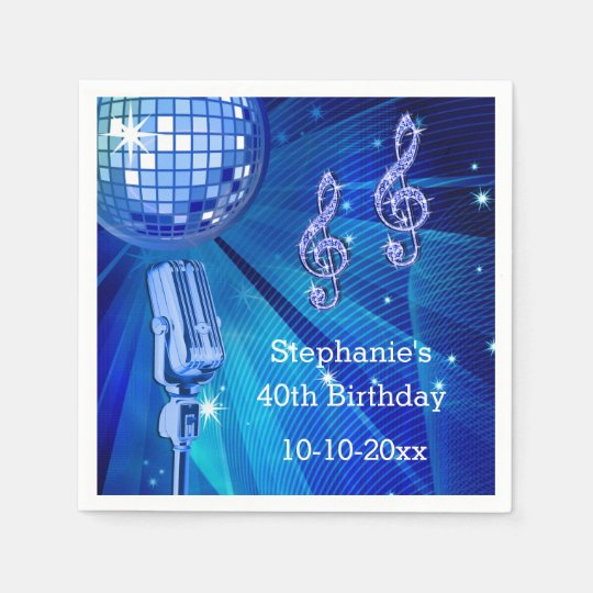 Blue Disco Ball and Retro Microphone 40th Birthday Paper Napkin