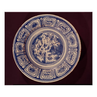 Blue dish, deriving from a late Ming Export Poster