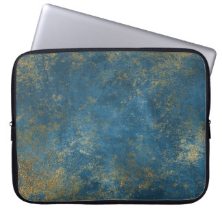 Blue Distressed Gold Texture Laptop Sleeve