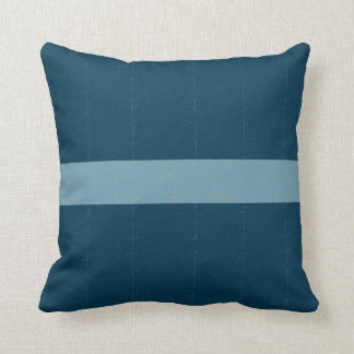 Blue distressed striped pillow
