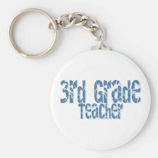 Blue Distressed Text 3rd Grade Teacher Basic Round Button Keychain