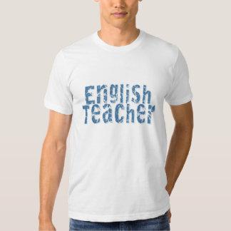 Blue Distressed Text English Teacher Shirts