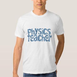 Blue Distressed Text Physics Teacher Tshirts